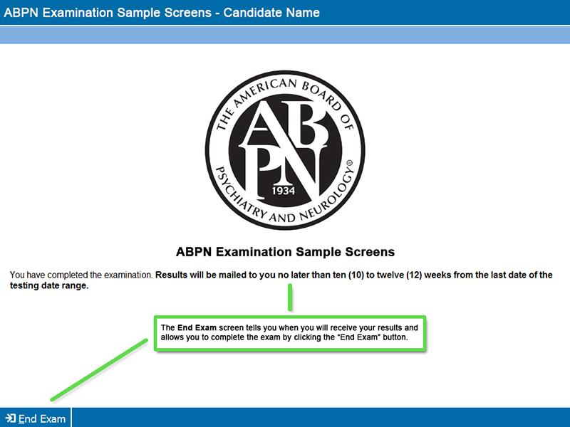 End Exam Screen